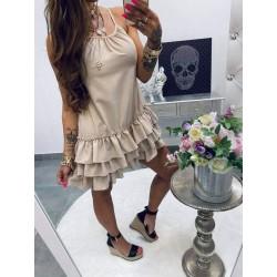 Lola Bianka Beage Frilly ruha