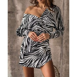 O la Voga Zebra Pattern Dress